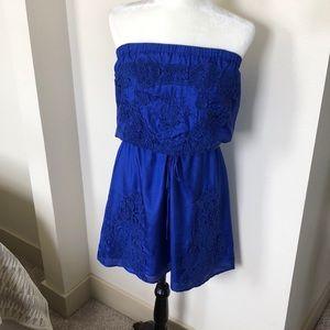 Gorgeous Silk Cobalt Blue Embroidered Summer Dress